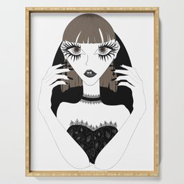 Goth girl with big brown eyes Serving Tray