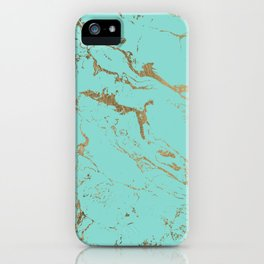 Modern teal gold marble pattern iPhone Case