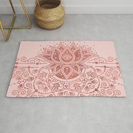 Sacred Lotus Mandala – Rose Gold & Blush Palette Rug