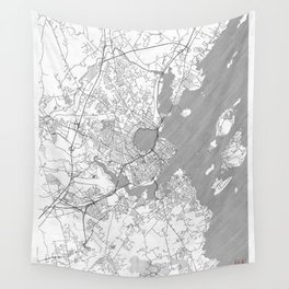 Portland Maine Map Line Wall Tapestry