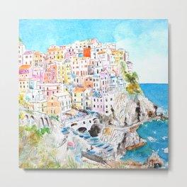 Italy Cinque Terre watercolor painting Metal Print