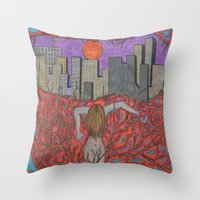 sin city Throw Pillows featuring Sin Beneath the City by Labartwurx