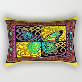 Old Style Buttefly Wood Block Yellow-Green-Brown  Print Rectangular Pillow