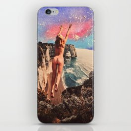Naked woman jumping to touch the sky iPhone Skin