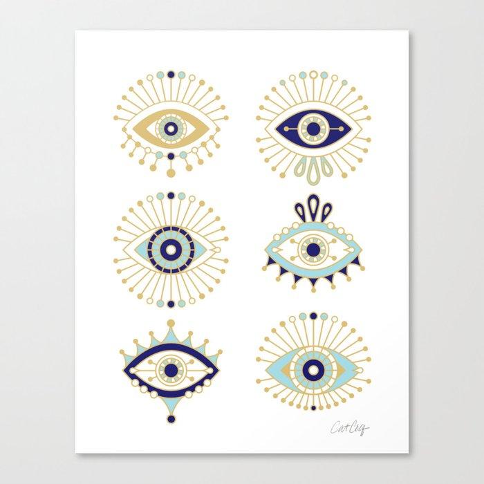 Evil Eye Collection on White Leinwanddruck