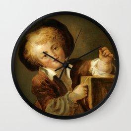 """Jean-Honoré Fragonard """"A Little Boy with a Curiosity"""" Wall Clock"""
