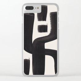 Mid Century Modern Minimalist Abstract Art Brush Strokes Black & White Ink Art Alien Symbol Pattern Clear iPhone Case