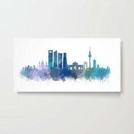 Madrid Spain city skyline watercolor art v03b UHD Metal Print