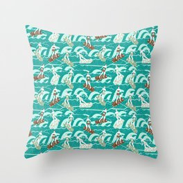 floral surfers Throw Pillow