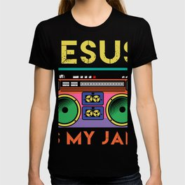 Jesus Is My Radio Jam A Colorful 80's Design T-shirt Design Vintage Retro Colorful Boombox  T-shirt