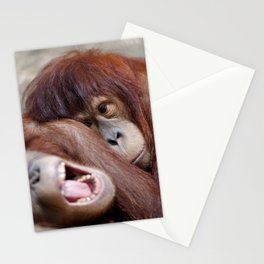Two young sleepy orangutans Stationery Cards