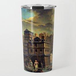 18th Century Paris, France along the River Seine by Jean Baptiste Nicolas Raguenet Travel Mug