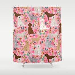 Golden Doodle dog breed must have dog art pet portrait animal fur baby illustration florals dog gift Shower Curtain