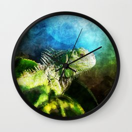 Blue And Green Iguana Profile Wall Clock