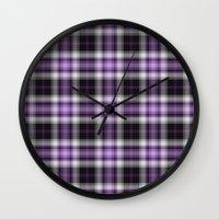 Purple Plaid Wall Clock