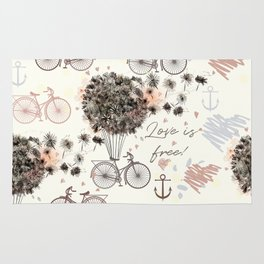 Dandelion fantasy. Pretty design with air dandelions and balloons Rug