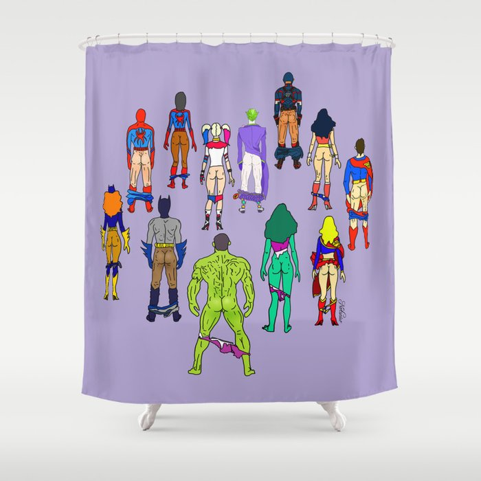 Superhero Butts - Power Couple on Violet Shower Curtain by notsniw ...