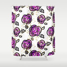 Hand drawn purple roses Shower Curtain