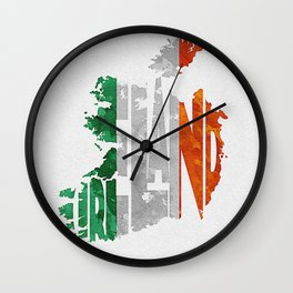 Ireland Typographic Flag Map Art Wall Clock