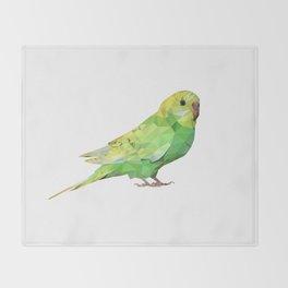 Geometric green parakeet Throw Blanket