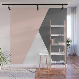 Elegant blush pink & grey geometric triangles Wall Mural