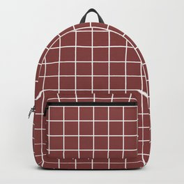 Brandy - purple color - White Lines Grid Pattern Backpack