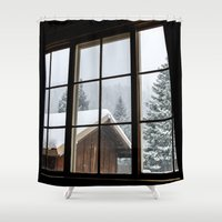 cabin Shower Curtains featuring Cabin by JacDodge