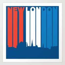 Red White And Blue New London Connecticut Skyline Art Print