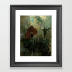 The crow and the Scarecrow Framed Art Print