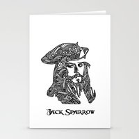 jack sparrow Stationery Cards featuring Captain Jack Sparrow by christoph_loves_drawing