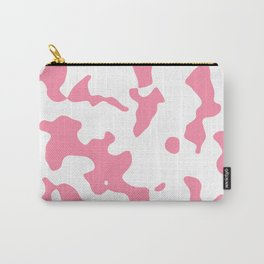 Large Spots - White and Flamingo Pink Carry-All Pouch
