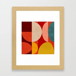 shapes of red mid century art Framed Art Print