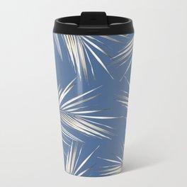 White Gold Palm Leaves on Ocean Blue Metal Travel Mug