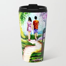 Tardis in a Romantic Place Travel Mug