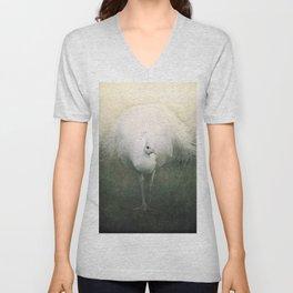 White Peacock Unisex V-Neck