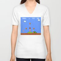 mario bros V-neck T-shirts featuring Super Mario Bros by Trash Apparel
