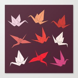 Japanese Origami paper cranes sketch, symbol of happiness, luck and longevity Canvas Print