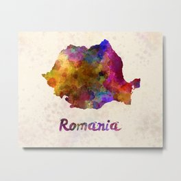 Romania in watercolor Metal Print