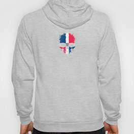 Flag of Dominican Republic on a Chaotic Splatter Skull Hoody