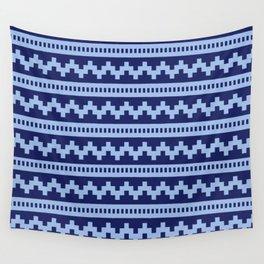 Pixel Blue Side Scroller Wall Tapestry