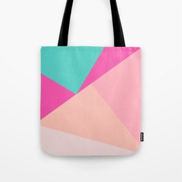 Pastel pink turquoise modern geometric color block pattern Tote Bag