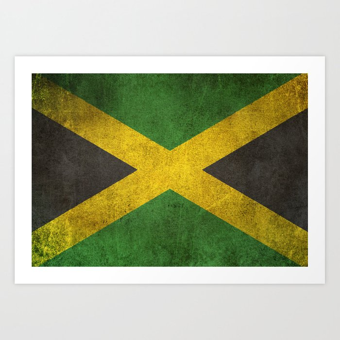 Old And Worn Distressed Vintage Flag Of Jamaica Art Print By