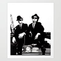blues brothers Art Prints featuring Blues Brothers by DmDan