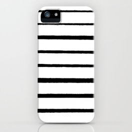 Black and White Rough Organic Stripes iPhone Case