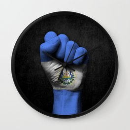 Salvadorian Flag on a Raised Clenched Fist Wall Clock