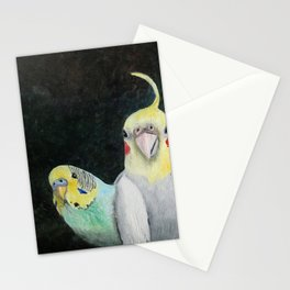 Bird Theater Parakeet and Cockatiel Painting Stationery Cards