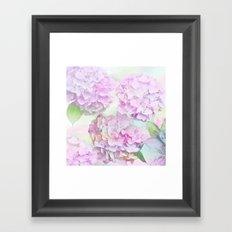Painterly Hydrangea flowers on a pastel background Framed Art Print
