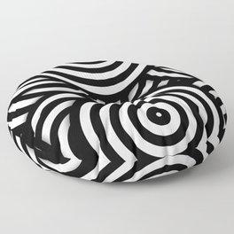 Retro Black White Circles Op Art Floor Pillow