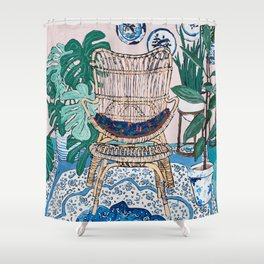 Wicker Chair and Delft Plates in Jungle Room Shower Curtain