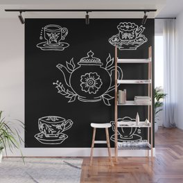 Floral Tea Kettle Tea Cups and Saucers Set Illustration Wall Mural